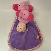 Fisher Price Pink Elephant and Baby Security Blanket Lovey Plush Rattle Toy