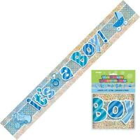ITS A BOY BABY SHOWER PRISM FOIL BANNER HANGING DECORATION PARTY SUPPLIES