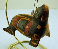 New Handmade & Painted Wooden Ornament Figurine Totemic Alaskan Seal