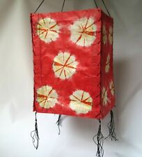 Red Lamp Shade Nepal Paper Natural Lokta Handmade Hanging Art Square Boho