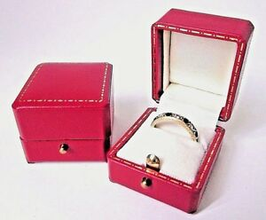 Antique Style Red Leatherette Ring Box-Push Button-Jewellery Gift Box-JV6