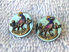 2 Antique Flat Steel Cloisonne Enamel Rooster Buttons Mirror Finished  Lot # 209