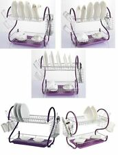 NEW 2 TIER PURPLE DISH DRAINER PLATED WATER DRIP RACK PLATES CUTLERY HOLDER CUP