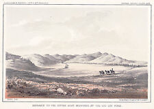 "Original Hand-Tinted Lithograph: ""BITTER ROOT MOUNTAINS' - RR Route Survey 1855"