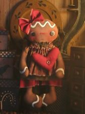 PATTERN Primitive Raggedy Gingerbread Doll & Heart Ornie FREE SHIPPING