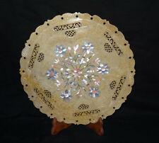 "12"" Marvelous Marble Plate Gemstones Inlay Handicraft Filigiri Work Home Gift"
