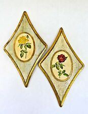 SET OF 2 VINTAGE ITALIAN HAND MADE TOLEWARE FLORENTINE FLORAL WOOD WALL PLAQUES