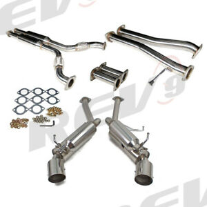 """REV9 2.5"""" DUAL STAINLESS CATBACK EXHAUST VQ35 4.5"""" TIP FOR 03-06 G35 03-08 350Z"""