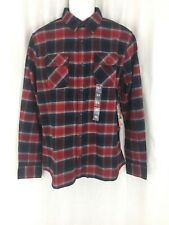 Men Vans long sleeve plaid red blue flannel Shirt tailored fit Size L New tags