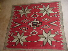 OLD NAVAJO INDIAN TRANSITIONAL WEARING BLANKET RUG WITH FEATHERS