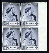 MALTA King George VI 1949 Silver Wedding £1 High Value BLOCK OF FOUR SG 250 MNH