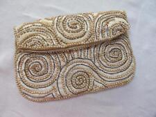 VINTAGE 1950's CREAM SATIN, FAUX PEARL & BEADWORK EVENING PURSE HANDBAG