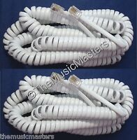 2X White 25' ft Telephone Handset Receiver 4P4C Coil Cable Curly Cord Wire VWLTW