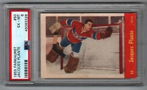 1955-56 Parkhurst #50 Jacques Plante Canadiens Rookie PSA 6 WOW (EX-MT)