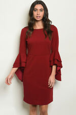 Gilli - 3/4 Long Bell sleeves with Round Neckline Burgundy Shift Dress