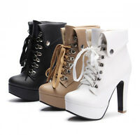 New Women's Plus Size Platform High Heels Boots Lace Up Chunky Heel Ankle Shoes