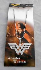 """DC Comics Wonder Woman """"W"""" 2"""" STAINLESS STEEL DELUXE PENDANT/NECKLACE"""