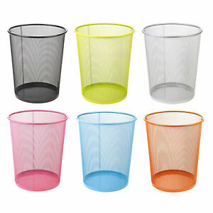 New Premier Colourful Metal Mesh Waste Paper Basket Bedroom Office Rubbish Bin