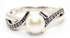 Sterling Silver 6mm Fresh Water Pearl & Diamond Ring (925) Size 7 (N)