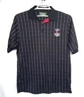 Men's Pro Shop Old Course St Andrews Embroidered Black Striped Golf Polo Shirt M