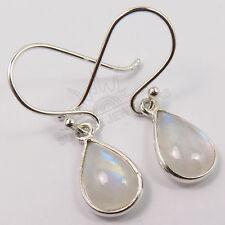 Cute Little Earrings Fire RAINBOW MOONSTONE Gemstones 925 Solid Sterling Silver