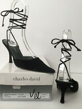 Charles David Black Velvet a punta con cinturino lungo CRAVATTE Tg UK 38 & Box