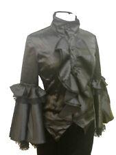 Steampunk Gothic Victorian Black Period Satin Blouse L