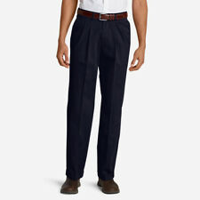 $80 Mens EDDIE BAUER Wrinkle-Free Relaxed Fit Pleated Performance Navy Pants 42