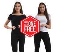 Ladies Ex New Look Bardot Top Short Sleeve Womens Black White Stretch