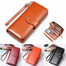 Women PU Leather Long Wallet Zip Purse Phone Holder Case Clutch Lady Handbag AU
