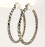 Hoop Earrings - Sterling Silver Pierced Women's Fine Polished Textured Estate