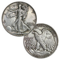 $1 Face - 90% Silver Walking Liberty Half Dollar Circulated (Two Coins)