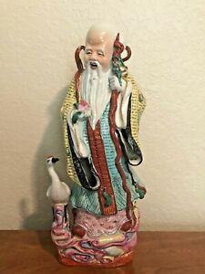 """Vintage 14 3/4"""" Chinese Porcelain Figurine of Shou Xing God of Longevity"""