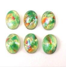 qty 12 rare vintage 10x7mm bright green fire opal oval glass flat back cabochons