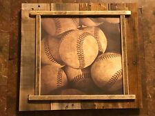 Vintage look Rustic Baseball Picture reclaimed wood country farmhouse