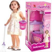 Kids Children Pretend Toy Play House Cleaning Broom Mop Dustpan Brush Bucket Set