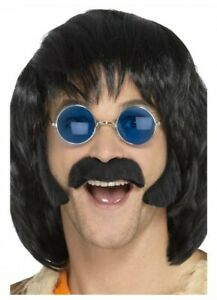 Hippie Disguise Set Black Sideburns Moustache 50s 60s 70s Rock and Roll Costume