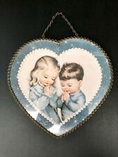 Vintage Chimney Flue Heart Shaped Hole Covering Little Boy & Girl Praying