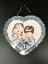 New listing Vintage Chimney Flue Heart Shaped Hole Covering Little Boy & Girl Praying
