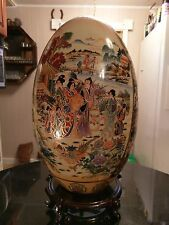 Huge Antique Chinese Hand Paint Ceramic Egg Shape