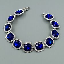 Rhodium Plated Blue Sapphire Crystal Rhinestone Bracelet 08676 Fashion Jewelry