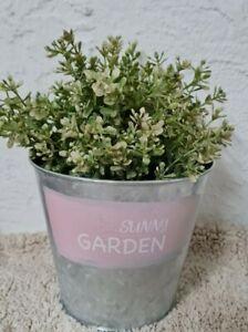 Flowerpot Sunny Metal Planter Plant Pot Vintage Shabby Garden Ornament