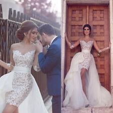 2017 White Detachable Train Wedding Dresses Sweetheart Custom Bridal Gowns
