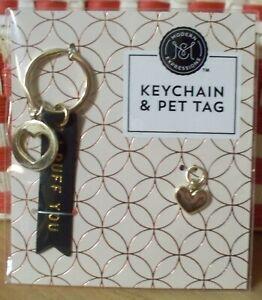 I Ruff You Love Pet Cat Dog Gold Heart Keychain Tag Collar Charm Set