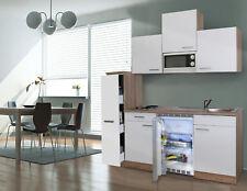 Küche Küchenzeile Singleküche Küchenblock 180 cm Eiche Sägerau weiß respekta