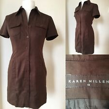 Karen Millen 10 12 Brown Faux Suede Button Up Fitted Shirt Dress Military 90s