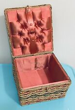 Vintage 1950s Lidded Sewing Basket Box Pink Silk Lining