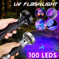 Waterproof 100LED UV Ultra Blacklight Flashlight Light Inspection Lamp
