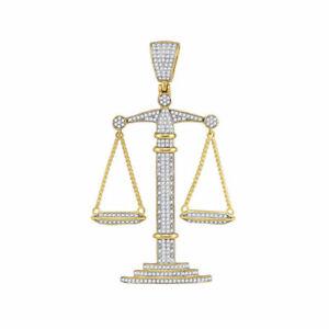 10kt Gelbgold Herren Rund Diamant Waage Von Gerechtigkeit Anhänger 1.00 Cttw