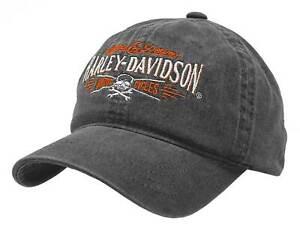 Harley-Davidson Men's Villain Adjustable Slide Baseball Cap - Washed Black